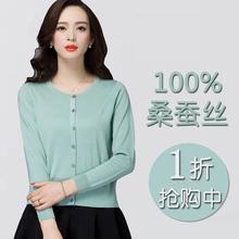 春装针mw女式开衫短tl薄外套长袖桑蚕丝针织(小)外搭防晒空调衫