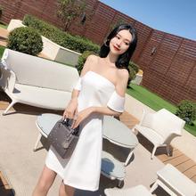 泰国潮mx2021春jj式白色一字领(小)礼裙插肩抹胸A字连衣裙裙子