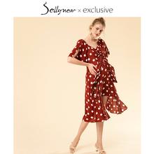 SELmyYNEARee乳连衣裙夏装新式时尚短袖酒红色波点印花长裙