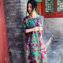 布衣美my2021春lo连衣裙文艺风印花长裙休闲民国棉麻女装长袍