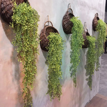 包邮1my5cm金钟lo仿真植物墙面装饰吊篮兰花藤条塑料假花绿植