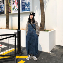 【咕噜my】自制日系lorsize阿美咔叽原宿蓝色复古牛仔背带长裙