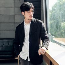 [myblo]纸间原创春秋亚麻休闲西服