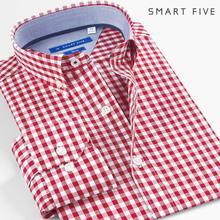 SmamytFiveri修身红色格子衬衫男长袖纯棉时尚青年美式休闲衬衣