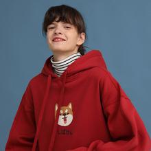 柴犬PROD原创新年红色卫衣女my12帽加绒ir侣装秋冬外套上衣