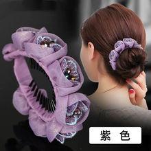 丸子头my饰韩国发��aa妈优雅气质花朵发夹女后脑勺顶夹