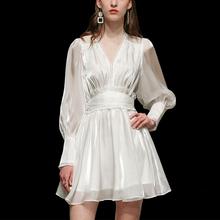 春装2my21新式女ot名媛收腰白色气质长袖显瘦中长式连衣裙