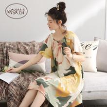 睡裙女my夏季半袖长si薄式性感日式裙子甜美宽松孕妇夏天睡衣