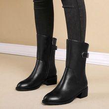 202my秋冬雪地意ov式真皮中筒靴女侧拉链平底短靴粗跟马丁靴女