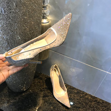 202my新式网纱蕾ov超细高跟鞋12cm外贸大码女单鞋宴会性感婚鞋