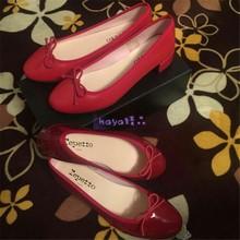 Repmytto芭蕾ne2020夏季软面真皮中跟(小)红鞋圆头粗跟婚鞋单鞋