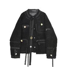 VEGmy CHANne羔毛短外套女2020新式秋冬时尚蕾丝拼接加绒外套潮