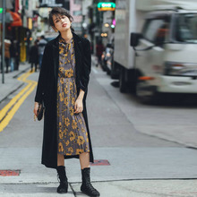 原创设mz2018秋fx订做纯色丝绒超长风衣西装外套潮流女式包邮