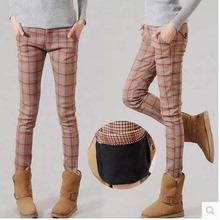高腰2021新式冬n16加绒加厚19穿长裤格子裤子女英伦(小)脚裤潮