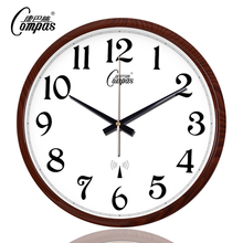 康巴丝n6钟客厅办公15静音扫描现代电波钟时钟自动追时挂表