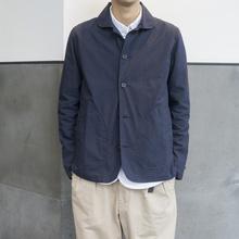 Labnastorees(小)圆领夹克外套男 法式工作便服Navy Chore Ja