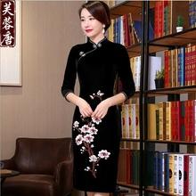 断码清na刺绣复古金at长式改良修身旗袍中式妈妈装结婚礼服裙
