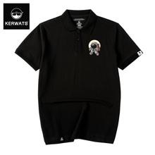 KERnaATS20ng式polo衫男个性翻领针织衫潮流大码纯棉t恤休闲短袖