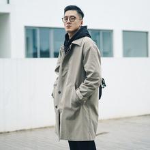 SUGna无糖工作室ed伦风卡其色外套男长式韩款简约休闲大衣