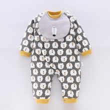 初生婴na棉衣服秋冬li加厚0-1岁新生儿保暖哈衣爬服加厚棉袄