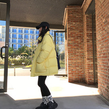 王少女na店2020in新式中长式时尚韩款黑色羽绒服轻薄黄绿外套