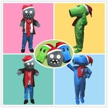 圣诞节na童植物大战in红熊帽子年会行走卡通的偶套头道具服装