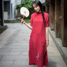远镇复na盘扣铜氨丝an中式旗袍式夏装中国风少女装长裙