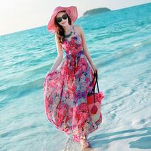 夏季泰国女装露na吊带碎花雪ie裙海边度假沙滩裙