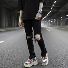 FOGna典式破洞拉ju裤kanye高街风潮男百搭黑色修身(小)脚牛仔裤