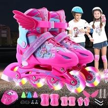 溜冰鞋na三轮专业刷ju男女宝宝成年的旱冰直排轮滑鞋