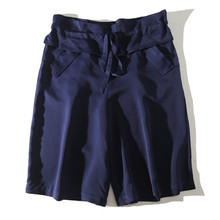 好搭含na丝松本公司ci0秋法式(小)众宽松显瘦系带腰短裤五分裤女裤