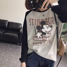 洋气减龄式卡通na4松中长式ci长袖T恤打底衫插肩袖女式秋冬M