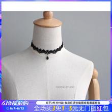 手工黑na蕾丝复古气20链女简约短式颈带颈圈项圈脖子饰品