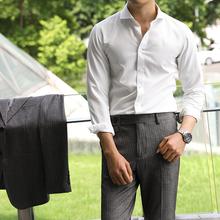 休闲舒适na1务白色百ha衫英伦长袖时尚绅士纯色温莎领衬衫
