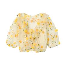 Desnagner ris 刺绣花朵网纱衬衫女V领泡泡袖短式上衣+吊带两件套