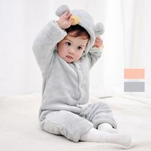 婴儿冬na连体衣毛绒si出抱衣宝宝睡衣加厚保暖法兰绒家居衣服