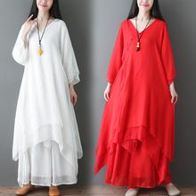 夏季复na女士禅舞服si装中国风禅意仙女连衣裙茶服禅服两件套