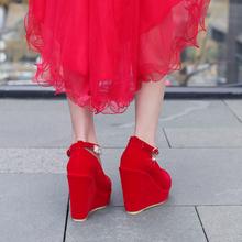 中式婚nb女大码新式l8跟鞋结婚鞋子新娘鞋平跟防水台敬酒红鞋