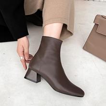 羊皮(小)nc女靴子20ch式秋春女鞋中跟侧拉链真皮瘦瘦靴粗跟短靴女