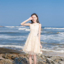 202ne夏季新式女dl(小)清新网纱露肩连衣裙高腰显瘦蝴蝶结蓬蓬裙