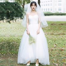 【白(小)ne】旅拍轻婚ng2021新式新娘主婚纱吊带齐地简约森系春