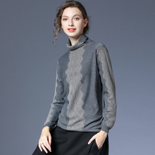 咫尺宽ne长袖高领羊re打底衫女装大码百搭上衣女2021春装新式