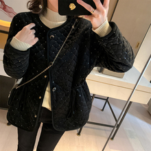 MUKOK短式棉服女ne7冬装20ds韩款宽松菱格(小)个子加厚棉衣外套
