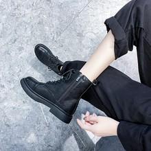 马丁靴ne伦风女鞋2ds年新式秋冬季百搭棉鞋加绒厚底骑士(小)短靴子