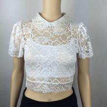新品罩ne性感镂空透li上衣荷叶袖短式罩衣女装包邮 夜店