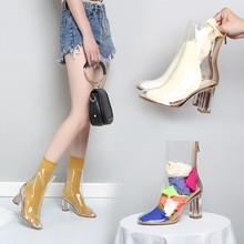 春夏秋冬季透明凉鞋糖ne7色袜子靴su子高跟鞋粗跟网红女鞋子