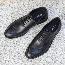外贸男ne真皮布洛克ne花商务正装皮鞋系带头层牛皮透气婚礼鞋