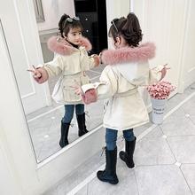 女童棉ne派克服冬装so0新式女孩洋气棉袄加绒加厚外套宝宝棉服潮