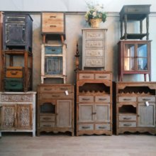 美式复ne怀旧-实木so宿样板间家居装饰斗柜餐边床头柜子
