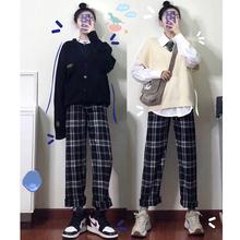 [netso]善狼恒美黑白格子裤子女宽